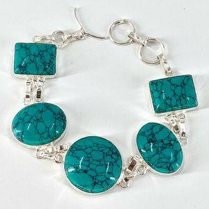 S925 Plated Natural Turquoise Ethnic Bracelet JB01